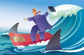 A businessman surfing between sharks.