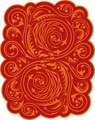 decorative floral pattern in red and orange