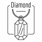 Diamond Logo. Outline Illustration Of Diamond Vector Logo For Web Design Isolated On White Backgroun poster