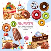 Cartoon Sweet Products Template With Cakes Donuts Colorful Candies Ice Cream Macaroon Lollipop Biscu poster