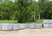 The New Concrete Cellophane Packed In Cellophane, Which Will Be Used To Build A New Road For Pedestr poster