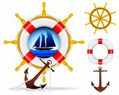 Nautical Elements - VECTOR. Summer design elements. (only gradient used, No transparency)