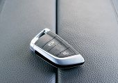 Closeup Inside Vehicle Of Wireless Key Ignition. Start Engine Key. Car Key Remote In Black Perforate poster