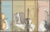 música tema banners - instrumentos de desenho - baixo, acordeão, violino, harpa-guitarra