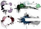 vier Grunge Designs, Ebenen Vektor-Illustration Datei.