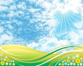 Halftone clouds background of summer design, vector layered.