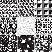 Set of seamless both side pattern. Vector layered.