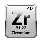 Zirconium Symbol.chemical Element Of The Periodic Table On A Glossy White Background In A Silver Fra poster