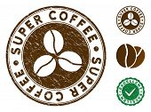 Super Coffee Brown Stamp. Vector Seal Watermark Imitation With Grunge Texture And Coffee Color. Roun poster