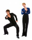 Latino Male Dancer Showing Thumbs Up While Friend Making Dance Pose
