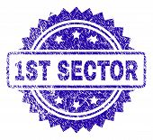 1st Sector Stamp Imprint With Scratched Style. Blue Vector Rubber Seal Print Of 1st Sector Text With poster