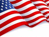 USA flag in white background - raster version