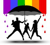 Family Is Protected By An Umbrella, Silhouette. Propaganda, Lgbt Flag. Traditional Family With Child poster