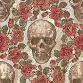 Seamless ornament in a retro style with skulls and roses