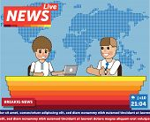 Vector Illustration Anchorman Breaking News And Tv Screen Layout. Professional Interview Men Newsrea poster