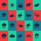 Climate Icons Set With Cloud, Sunshine, Weather And Other Sun Elements. Isolated Vector Illustration poster