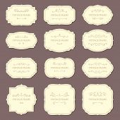 Vintage Label Frames. Old Fashioned Ornamental Labels, Fashion Product Victorian Tag Cardboard. Retr poster
