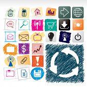 Varios diseños de icono dibujado a mano.