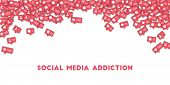 Social Media Addiction. Social Media Icons In Abstract Shape Background With Counter, Comment And Fr poster