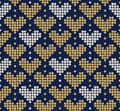 Abstract Seamless Pattern With Hearts Composed Of Small Squares, Seamless Hearts Pattern, Romantic S poster