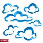 Vector Set Of Hand Drawing Clouds In Watercolor Style, Bright Blue Artistic Illustration, Isolated E poster
