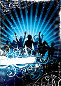 image of rap-girl  - Musical background with people on a background - JPG