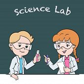 Kids In Lab Clothing And Safety Glasses Conduct Scientific Experiment. Educational Science Activitie poster