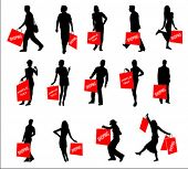vector silhouettes of shopping people
