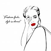 Fashion Woman Sketch: Girl In Red Jacket And Red Lips. Beautiful Woman Closes Hand Face Vector Fashi poster