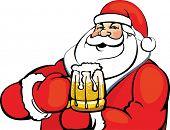 Santa Claus with a mug of beer
