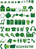 Collection of green icons for the Internet