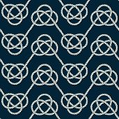 Seamless Nautical Rope Pattern. Endless Navy Illustration With Light Cords Ornament. Marine Zigzag L poster