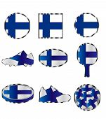 Flag Of Finland, Set Of Different Icons Of The Color Of The Flag Of Finland poster