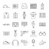 Hiphop Rap Swag Music Dance Icons Set. Outline Illustration Of 16 Hiphop Rap Swag Music Dance Vector poster