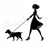 Girl walking a dog. Vector illustration.