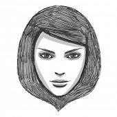 Hand drawn fashion model. Vector illustration.