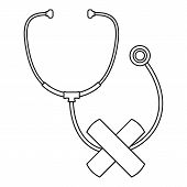 Stethoscope Cross Bandage Icon. Outline Illustration Of Stethoscope Cross Bandage Vector Icon For We poster