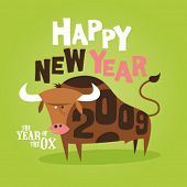 stock photo of reveillon  - Chinese New Year of the Ox greeting card 2009 - JPG