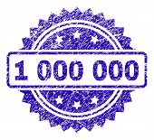 1 000 000 Stamp Watermark With Corroded Style. Blue Vector Rubber Seal Print Of 1 000 000 Title With poster