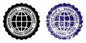 Global Danger Trends Round Stamp In Grunge Blue And Clean Black Styles. Rubber Seal Stamp With Grung poster