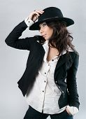 Beautiful Woman In Cowboy Hat.