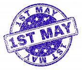 1st May Stamp Seal Imprint With Distress Texture. Designed With Rounded Rectangles And Circles. Blue poster