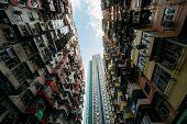 Hongkong. Old Tall And Dense Residential Building In Hong Kong. poster