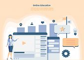 Online Education Landing Page Or Presentation Template. Modern Flat Design Concept Of Web Page Web A poster