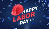 Stock Vector Illustration Happy Labor Day Text Banner, American Patriotic Square Isolated On Blue Ba poster