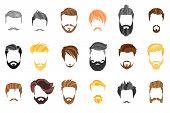 Hair, Beard And Face, Hair, Mask Cutout Cartoon Flat Collection. Vector Men S Hairstyle, Illustratio poster