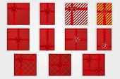 Gift Boxes Top View Set, Isolated White Background. Red Ribbons Bow On Red Giftbox. Decoration Eleme poster