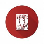 Magazine Flat Design Long Shadow Glyph Icon. Tabloid. Periodical Publication With Celebrity Photo. V poster