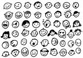 picture of angry smiley  - doodled funny stick figure faces - JPG