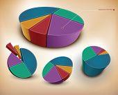 conjunto de gráficos de pizza 3d vector